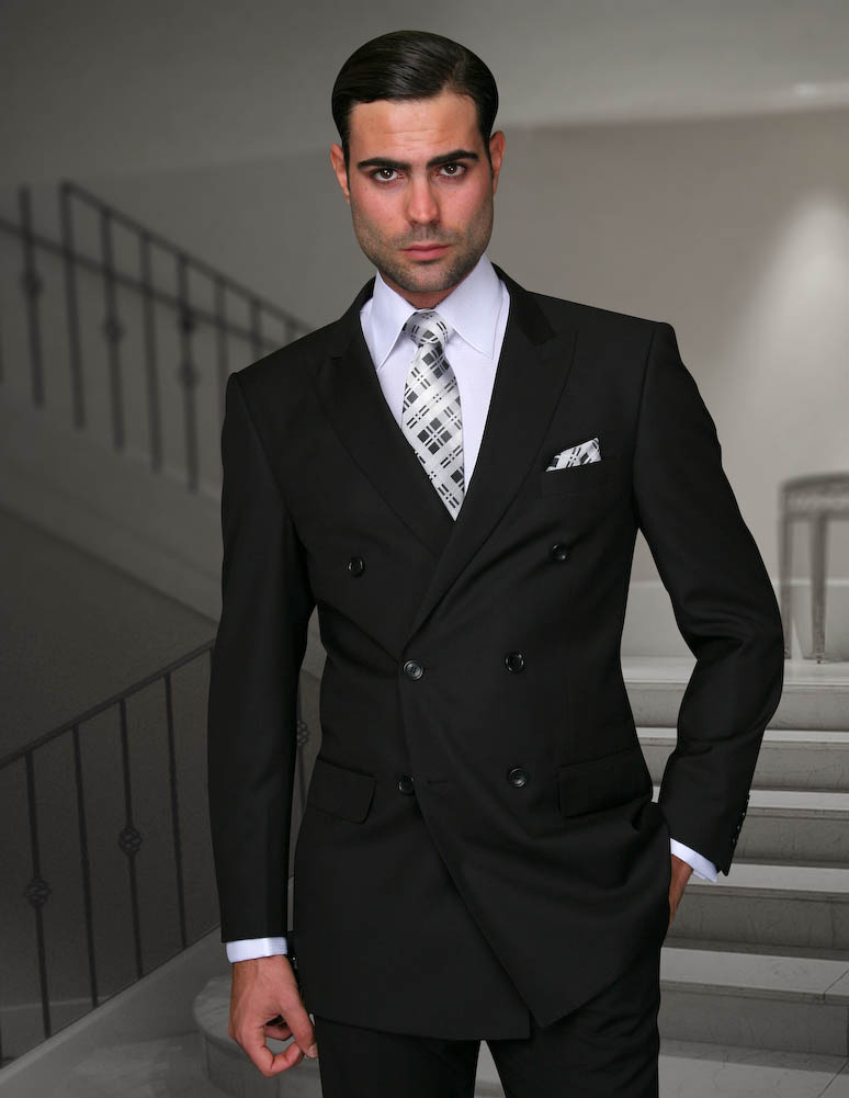 Suits LA :: Double Breasted Men's Suit :: TZD-100 BLACK SOLID ...